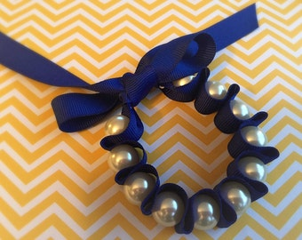 Handmade Ribbon, Pearl Bracelet