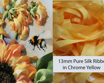 5 meters of 13mm pure silk ribbon in chrome yellow