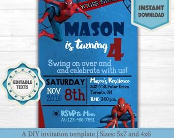 Spiderman Birthday Invitation Instant Download