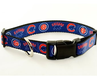 """Chicago Cubs Dog Collar (1"""" width) - Large - Extra Large - Martingale - Leash"""