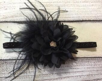 Black Chiffon Flower Headband Black Baby Headband Holiday Headband Christmas Baby Headband Black Vintage Headband Glitter Headband