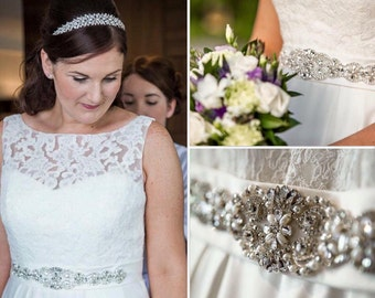 Millie crystal and pearl sash