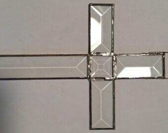 Clear beveled glass cross sun catcher