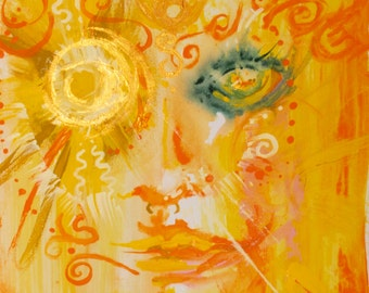 """Sun Goddess 12 x 15"""" Original Art Giclee Print"""