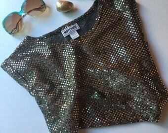 Vintage 80s Gold Sequin Blouse