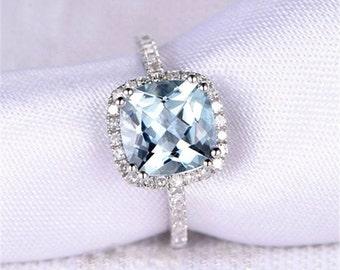 Cushion Aquamarine Ring, Halo Engagement Ring, Halo Ring, Aquamarine Engagement Ring, White Gold Ring, White Gold, Aquamarine Ring