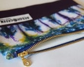 Handmade, Upcycled, Recycled Zipper Pouch, Make-Up Bag, Pencil Case, Tie Dye & Purple