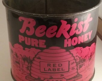 1960's Beekist Honey Tin can. Red Label.