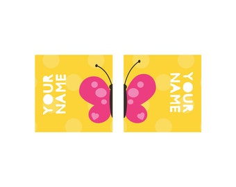 20 Pairs of Shoe Labels - water resistant, tear/scratch resistant Personalized Butterfly Name Labels