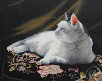 original oil painting, cat, feline, animal, portrait, pet, fine art, realistic, tabby, framed, Jan Brown