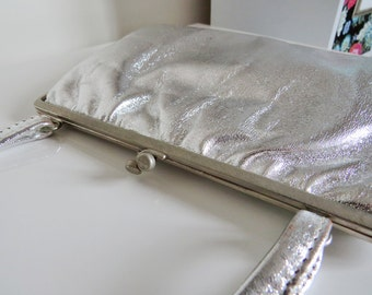 Vintage Silver Leather Handbag By Jane Shilton Made In England