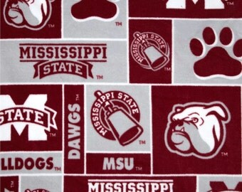 Mississippi State Bulldogs Hand tied Fleece Blanket