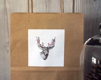 Paper bag wood deer flowers