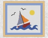 Boat cross stitch pattern, sailing counted cross stitch, sailboat, yacht, sea, lake, sun spring summer, easy, simple, printable chart, PDF