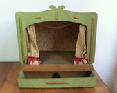SOLD on layaway Vintage puppet theatre 1930s rare handmade wooden antique puppet theatre folk art primative  Wooden Theatre Booth