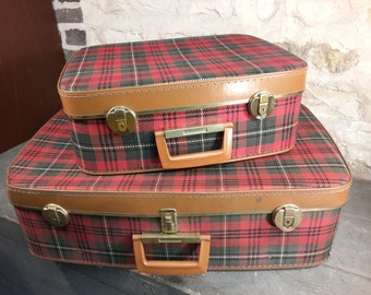 Fabric Scottish suitcases