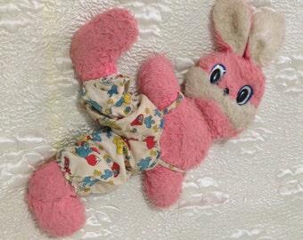 Vintage Kid's Pink Bunny Rabbit 1970's Fluffy Friend