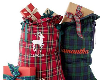 Santa Sacks, Red and Green Santa Sacks, Christmas Sacks, Christmas Gift Bags, Christmas in July