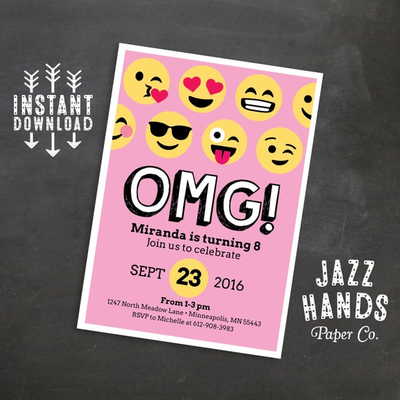 Emoji Birthday Invitation Template, Pink, Emoji Birthday Party, Emoji ...