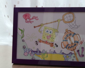 Original Colour Pencil and Ink Drawing of Spongebob Squarepants (includes purple frame with glass)