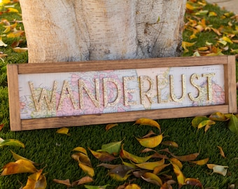 WANDERLUST map sign // map wall decor // map wood sign // adventure themed // nursery decor // travel decor