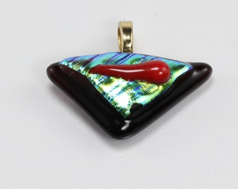 Green, Red, Black Fused Glass Pendant, Triangle Pendant