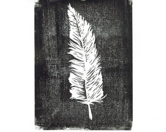 Original Lino Feather Print