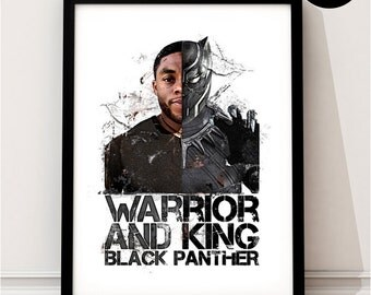 Black Panther Art Print, T'Challa Art Print,  Marvel Superhero Inspired, Quote, Avengers Art, Civil War, Wakanda, Captain America