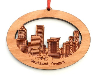 Portland, Oregon City Skyline Detailed Wood Christmas Ornament by Nestled Pines
