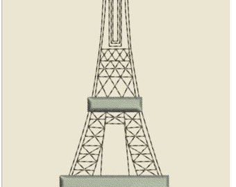 "EIFFEL TOWER  machine EMBROIDERY instant download 3 different sizes (5x5"" 7x7 ""10x10""hoop)"