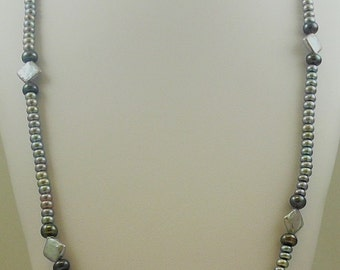 Freshwater Gray and Black Fancy Shape Pearl 5-11mm Necklace 46""