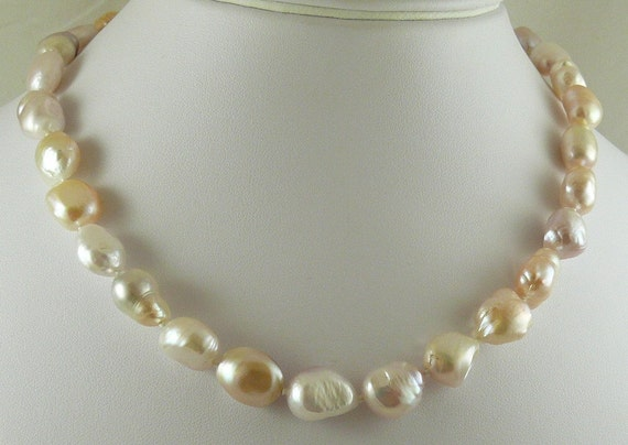 "Freshwater Pink Baroque Pearl Necklace 14k White Gold Fish Lock 18"" Long"