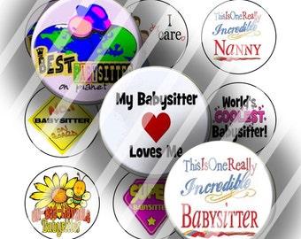 Digital Bottle Cap Collage Sheet - Babysitter 1 - 1 Inch Circles Digital Images for Bottlecaps