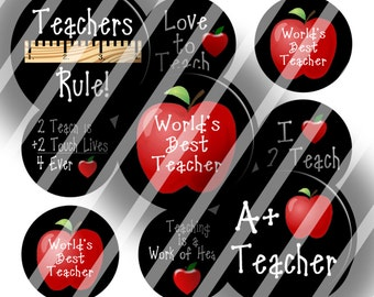 Digital Bottle Cap Collage Sheet - Love Teachers - 1 Inch Circles Digital Images for Bottlecaps