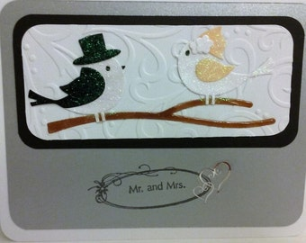 Bird wedding card, handmade, 5x7,