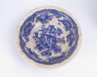 "Antique blue & white transferware serving bowl 8.5"" peonies bird pheasants unsigned flowers"