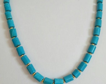 Coral turquoise and silver necklace for men and women