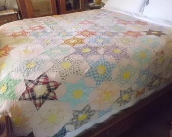 """ANTIQUE STAR QUILT pattern 77"""" X 60"""" 1920/30s era"""