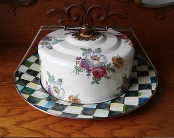 Gorgeous enamel cake carrier with roses-Enamelware/french kitchen/shabby chic/garden tea party Treasury featured