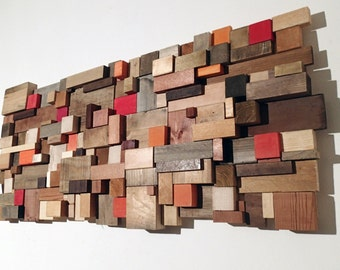 Sunset Vibes - Wood wall art. Unique piece. Mosaic of reclaimed wood off cuts. Handmade in Italy