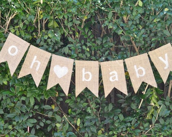 """Rustic Baby Shower Hessian Bunting - Burlap Banner """"oh baby"""""""