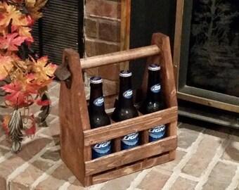 Rustic Wood Beer Tote // Six Pack Holder /  6 Pack // Beer Bottle Carrier // Soda Bottles // Beer Bottles // Bar Gift