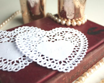 Heart Paper Doilies, Craft Heart Paper Doilies, Scrapbooking Doilies - Set of 50