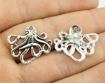 10 Octopus Charms, Antique Silver Tone Charms (1A-210)