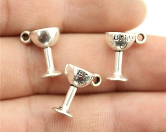 6 Bride Wine Glass Charms, Antique Silver Tone (1H-116)