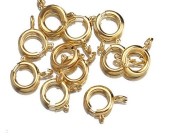 25 Spring Ring Clasps, 9 x 7mm, 18K Gold Plated
