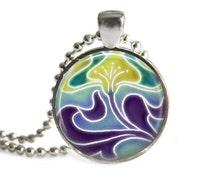 Art Nouveau Pendant, Flower Pendant, Glass Art Pendant, Art Nouveau Jewelry, Art Nouveau Necklace, Flower Jewelry, Art Nouveau Keychain