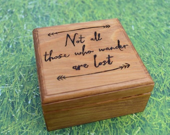 Wood Burned Not All Those Who Wander Are Lost Box - Travel Keepsake Box - Wood Burned Jewelry Box - Adventure Box - Lord of the Rings Box