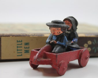 Vintage Miniature Cast Iron Amish Wagon with Children
