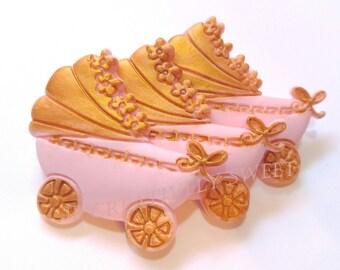 12pcs Baby Vintage Gold Stroller Carriage Edible Gumpaste Fondant Cupcake toppers set